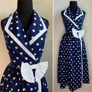 Vintage 80s Polka Dot Sleeveless Wrap Dress